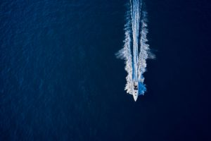 Large,Speed,Boat,Moving,At,High,Speed.,Top,View,Of